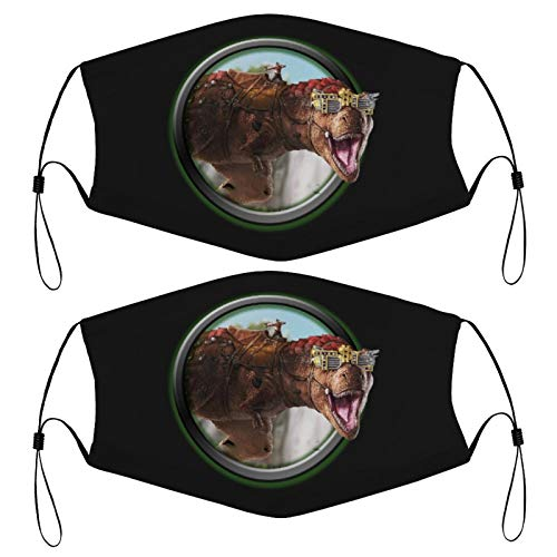 Video Game T-Rex Swag Kids Face Mask Set of 2 with 4 Filters Washable Reusable Adjustable Black Cloth Bandanas Scarf Neck Gaiters for Adult Men Women Fashion Designs