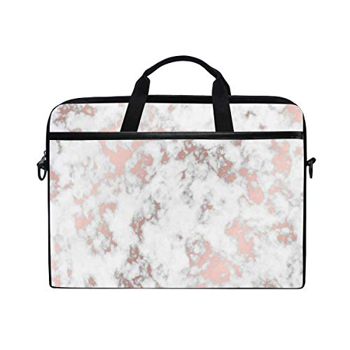 Rose Gold Marble Stone Laptop Shoulder Bag, Travel Briefcase for Men Women, Business Portable Carrying Case Computer Laptop Handbag for Notebook Tablet