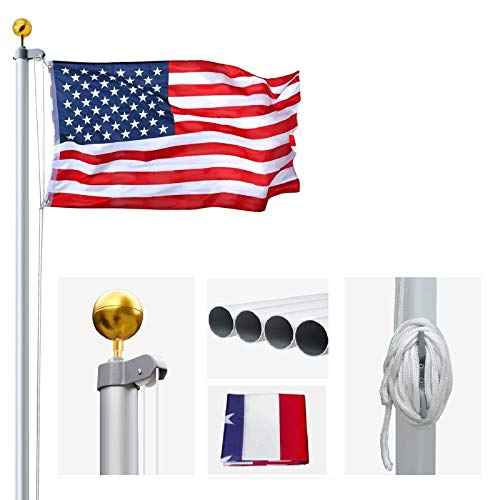 AkTop 20FT Sectional Flag Poles Kit, Portable Extra Thick Aluminum In Ground American Flag Pole, Outdoor Heavy Duty Flagpole with 3x5 USA Flag & Golden Ball for Commercial or Residential, Silver