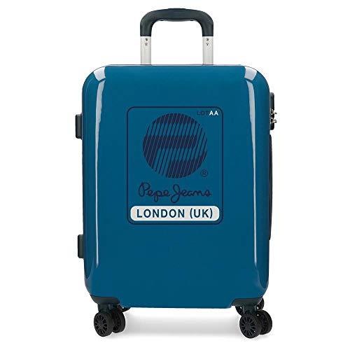 Pepe Jeans Luggage Maleta de cabina Azul 40x55x20 cms Rígida ABS Cierre combinación 37L 2,6Kgs 4 Ruedas dobles Equipaje de Mano