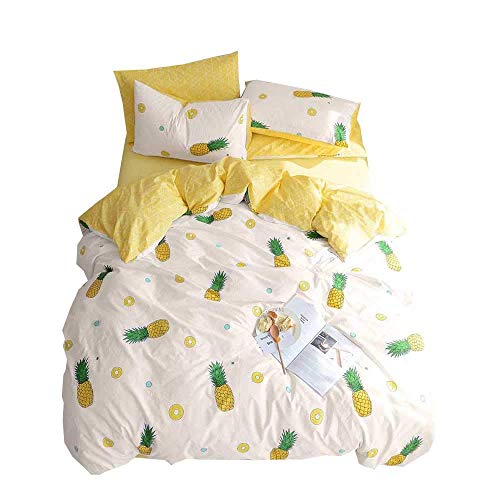 BuLuTu Pineapple Print Pattern 3 Pieces Cotton Bedding Sets Twin Cream/Off White Super Soft Twin Kids Duvet Cover Set for Girls,Breathable,Lightweight,Love Gifts for Her,Daughter,Women,NO Comforter