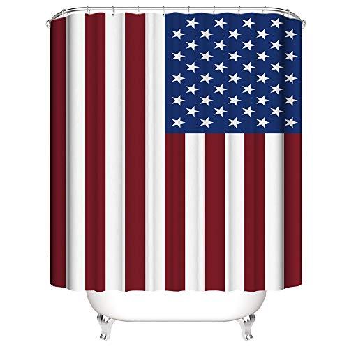 Tong XIN Bandera Americana Rayas Verticales Rojas Proteja la Cortina de Ducha de privacidad, la Cortina de Ducha Impresa es fácil de Quitar