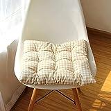 JYHS Cojín cuadrado suave para silla de asiento, diseño de piel resistente, cojín de tatami, almohadillas antideslizantes con lazos, 2 unidades, color crema, 2 unidades, 45 x 45 x 5 cm, cómodo