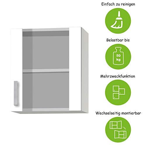 MMR Glas-Hängeschrank Küche DALLAS, 1-türig, 50 cm breit, wechselseitig montierbare Tür, Weiß
