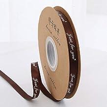 """DDDCM 10mm""""handgemaakte"""" gedrukt polyester lint met letter gedrukt lint for gift verpakking (Kleur : Just 10mm Dark coffe,..."""