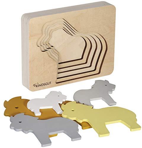 Kindsgut Tier-Puzzle, Lagen-Puzzle, Motorik-Spielzeug aus Holz, praktische Größe für zuhause und unterwegs, Löwe