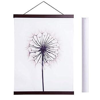 Magnetic Poster Hanger Frame 22x34 22x28 22x30 Light Wood Wooden Magnet Canvas Artwork Print Dowel Poster Hangers Frames Hanging Kit  Walnut 22