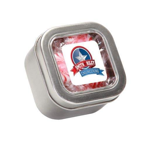 Lowest Prices! Striped Peppermints in Sm Square Window Tin