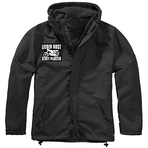 Spaß kostet Männer und Herren Gefütterter Windbreaker Jacke mit Aufnäher Motorrad Lieber Rost statt Plastik Größe S bis 7XL