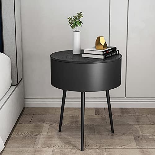 WKZ Comodino Rotondo,Tavolino per La Camera da Letto in Stile Nordico,Ferro Battuto,con Cassetto E Vano A Giorno,Comodino40 * 40 * 60 Cm / 50 Cm(Size:Corto,Color:Nero)