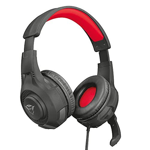 Trust Cuffie Gaming GXT 307 Ravu con Microfono Ripiegabile e Archetto Regolabile, 3.5 mm Jack, Filo, Over Ear, PC, PS4, PS5, Xbox Series X, Xbox One, Switch, Nero/Rosso