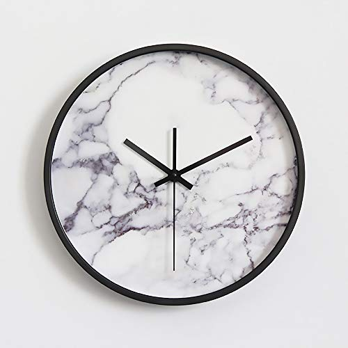KK Gabby Reloj de pared decorativo simple y moderno reloj de silencio para sala de estar, reloj de cuarzo para dormitorio, sala de estar, decoración original de piedra