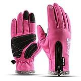 OUYKD wasserdicht Herren Damen Skihandschuhe Winddicht Thermo-Touchscreen Outdoor Sport Radfahren Snowboardhandschuhe , Pink , M