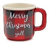 Merry Christmas Y'all Buffalo Plaid Coffee Mug, Red & Black Ceramic 20 Oz Cup, Farmhouse Check Kitchen Decor (Gift Box Included)