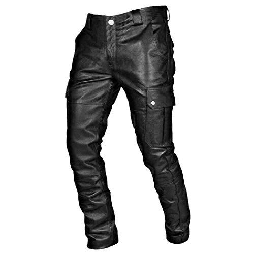 Laoling Pantalones de Cuero con Cordones Laterales Estilo Steampunk, Pantalones de recreación de Rock de Motociclista gótico Vaquero para Hombres Black S