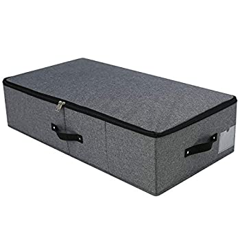 AMJ 29.5  15  6.7  Rigid Under Bed Garment Storage Bins Folding & Washable Soft Zip Lid Black Gray