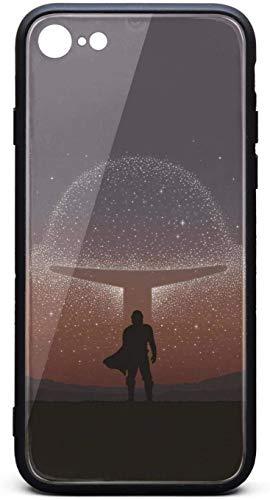Carcasa delgada para iPhone 6Plus/iPhone 6sPlus The-Mandalorian-Poster-Wallpaper- Unisex Cool vidrio templado negro anti-arañazos TPU goma parachoques accesorios cubierta trasera