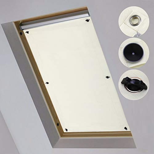iKINLO Dachfensterrollo Thermo Rollos Sonnenschutz – ohne Bohren (Beige, B38cm x H75cm) für Fenster & Tür Verdunkelungs Rollo Passende Velux-Fenstertypen CK04