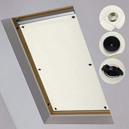 iKINLO Dachfensterrollo Thermo Rollos Sonnenschutz – ohne Bohren (Beige, B96cm x H115cm) für Fenster & Tür Verdunkelungs Rollo Passende Velux-Fenstertypen S08