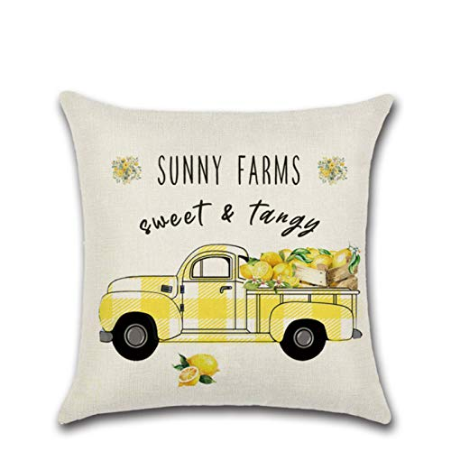 Fruit Series Zl-8571 Summer Lemon Truck Pillow Sofa Cushion Cover Decorative Pillow Flower Linen Throw Pillow Home Decoration Pillow