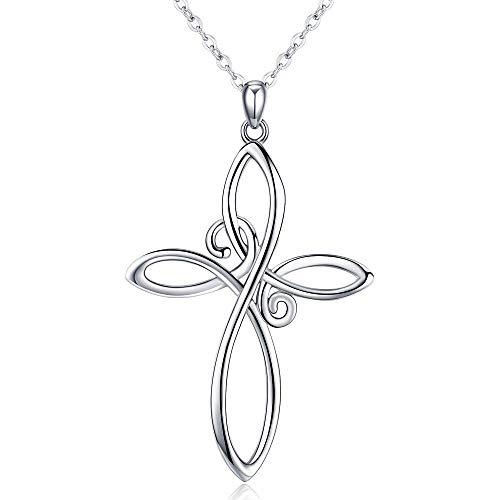 CHENGHONG Keltisches Kreuz Kette,Sterling Silber Unendlichkeit Kreuz Anhänger Halskette, Keltischer Knoten Damen Kette Schmuck Halskette Geschenke für Frauen