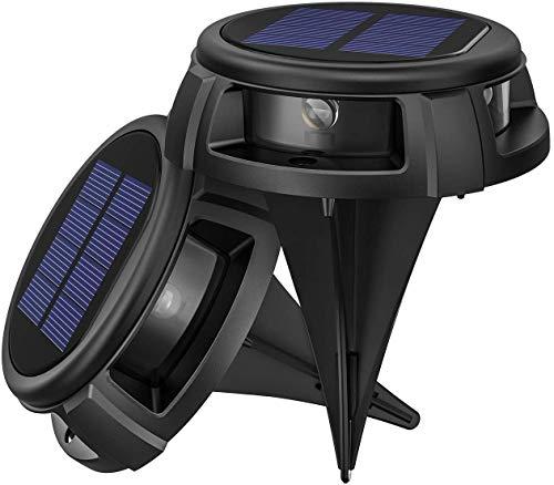 LITOM Solar Bodenleuchten Außen,4LED Bodenlampen mit 4 Beleuchtungsmodi,IP68 Wasserdicht,Automatisch Schalten,stabile dauerhafte Bodenleuchten für Aussen,Terrasse,Garten,Rasenweg,Einfahrt-2 Stück
