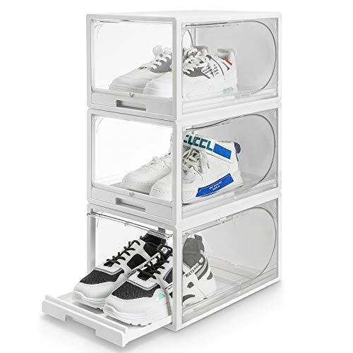 Yorbay Juego de 3 cajas de zapatos apilables para almacenamiento de zapatos, puertas y tapas transparentes de plástico a prueba de polvo y humedad, 37 x 26,5 x 21 cm