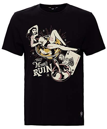 King Kerosin Herren Print T-Shirt Mit Pin Up Motiv Man's Ruin Rundhals Kurzarm Print-Shirt Regular Fit Bedruckt Abgesteppte Kante Man's Ruin