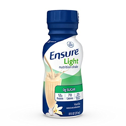 Ensure Light Nutrition Shake, 12g of high-quality protein, 0g Sugar, 2g Fat, Vanilla, 8 fl oz, 24 Count