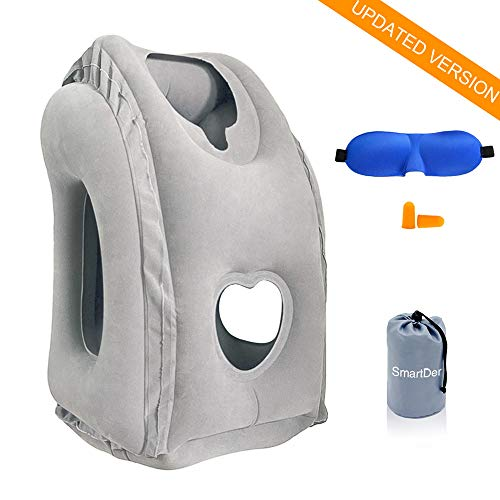 SmartDer Inflatable Travel Pillow, Airplane Pillow with Patented Valve Design, Travel Accessories with Neck and Head Support, Travel Pillows for Long-haul Flights, Cars, Buses, Trains, Office Napping