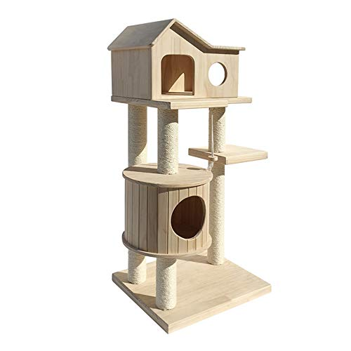 Liergou Kratzbaum Cat Hauskatze Turm Katze Baumklettern Hölzerne Plattform Turm Spielzeug Lebensraum Eingerichtete Wohnung Haustier Kätzchen Katzenkratzbrett (Color : Natural, Size : As pictiure)