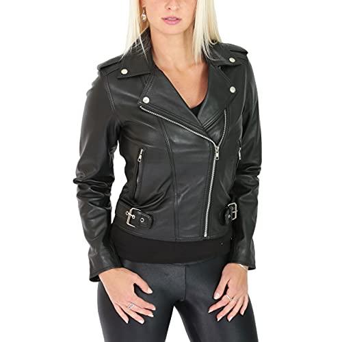 HZG Damen Lederjacke im Biker-Stil mit Kreuzreißverschluss, Emma Schwarz Gr. 48, Schwarz