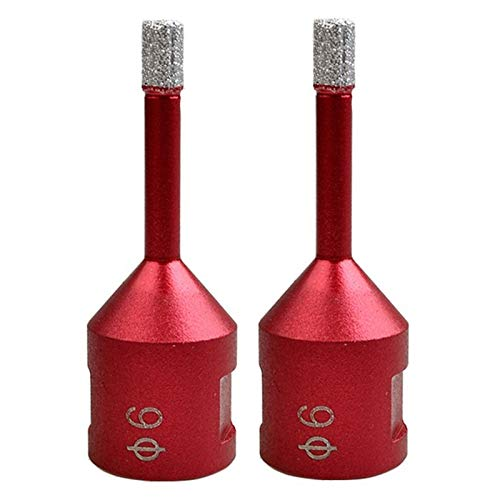 Jinyouqin 2Pc Dia 6Mm M14 Vacuum Brazed Diamond Drilling Core Bits Dry Drilling Bit Hole Saw Drill Bits Granite Marble Tile Tool Accessories (Color : Red)