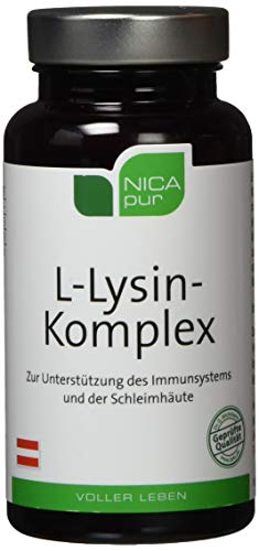 NICApur L-Lysin Komplex, hochdosiert, mit Zink und Vitamin A, zur Unterstützung des Immunsystems und der Schleimhäute, Reinsubstanz ohne Zusatzstoffe, 60 Kapseln
