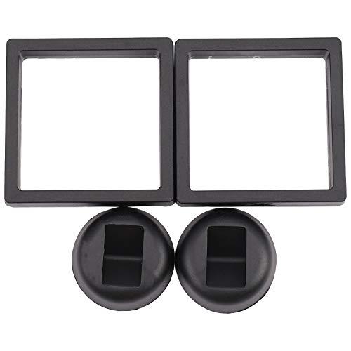 momok Album Quadrato Quadrato Contenitore per Monete con Cornice Flottante Display di Gioielli Vetrina, Q. 9x9cm (Senza Base): 2 Pezzi