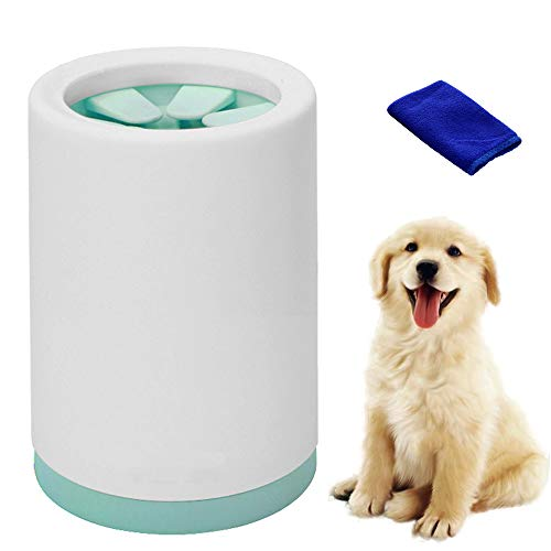 Limpia Patas Perro Portátil, Limpiador de Huellas de Perro, Taza de Limpieza para Mascotas, Limpiador de Patas para Perro Gato con Toalla