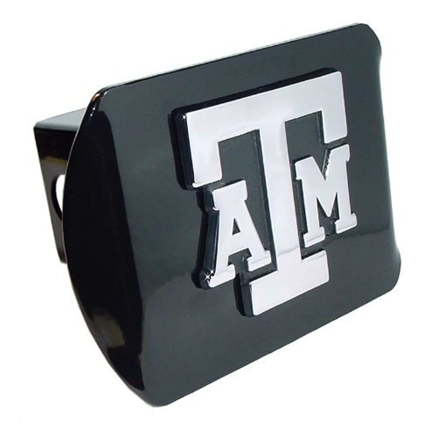Texas A&M Aggies Black Metal Trailer Hitch Cover with Chrome Metal Logo (For 2