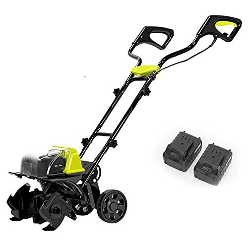 QILIN Elektrische Motorhacke, Kabelloser 40V-Lithium-Batterie-Vertikutierer, Bürstenloser Motor, Arbeitsbereich 36cm, Geeignet für Kleine Gärten, Gemüsegärten und Weiche Böden