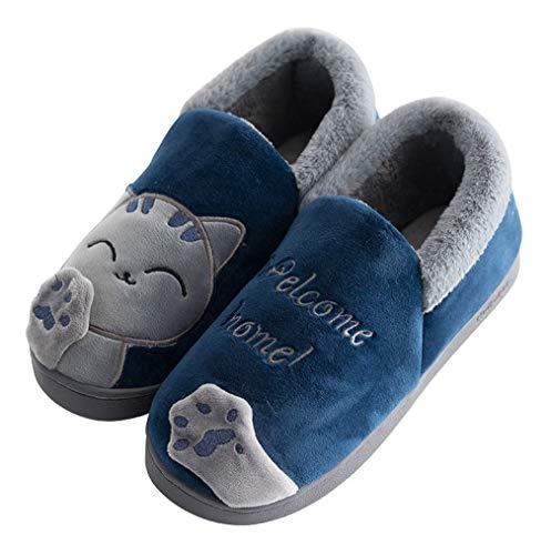 Vorgelen Herren Damen Winter Warme Hausschuhe Memory Foam Plüsch Baumwolle Hause Pantoffeln Leicht Cartoon Katze rutschfeste Indoor Slippers 43/44 EU = 44/45 Etikettengröße