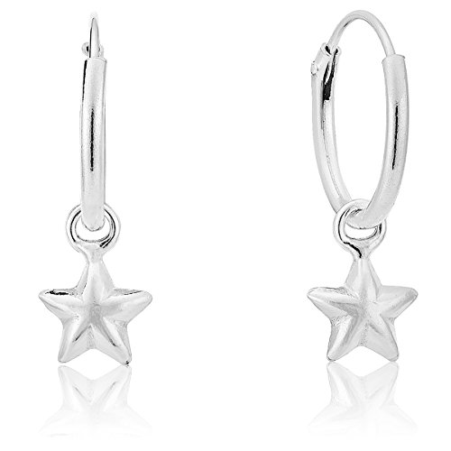 DTPSilver - 925 Sterling Silver Small Hoops Earrings and Dangling Puffed Star - 6 mm - Diameter 12 mm