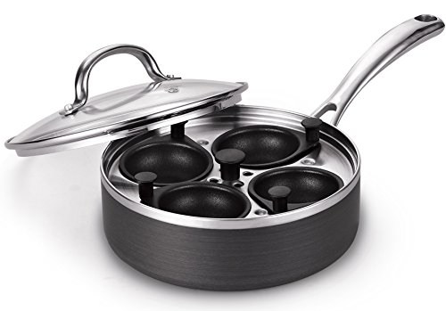 Cooks Standard 4 Cup Nonstick Hard Anodized Egg Poacher Pan with Lid, 8-Inch