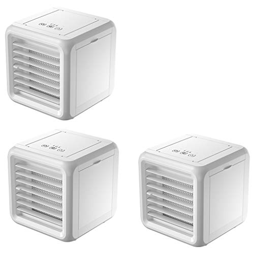 Hui Mini Air Cooler, draagbare airconditioner, luchtbevochtiger, reiniger, 3-in-1 airconditioning met dubbele watertank, USB Arctic 7 kleuren LED & 3 snelheden voor slaapkamer, kantoor