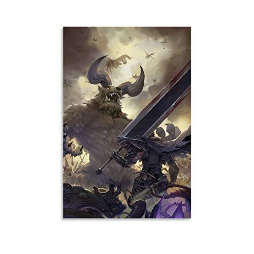 YINSHE Anime Poster Berserk Berserk Guts Vs Zodd Canvas Art Poster and Wall Art Picture Print Modern Family Bedroom Decor Posters 24x36inch(60x90cm)