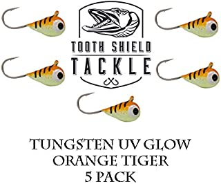 Tooth Shield Tackle UV Glow Tungsten Ice Fishing Jigs Orange Tiger 5-Pack Crappie 4mm