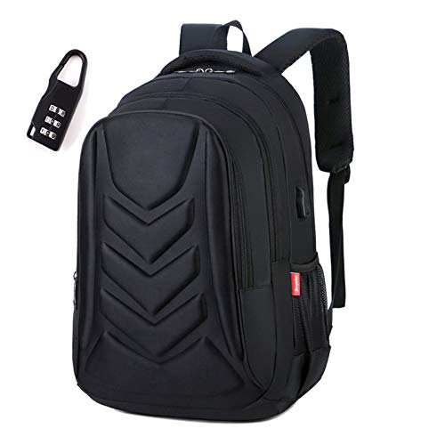 YCRCTC Multifunctional Schoolbag EVA Protect Shell 15' Laptop Backpack USB Charge Port Travel Bag Swiss Waterproof (Color : Black with lock)