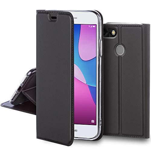 Moozy Custodia a Libro per Huawei P9 Lite Mini e Y6 PRO 2017, Grigio Acciaio - Tocco di Eleganza Classica Flip Cover Portafoglio con Porta Carte