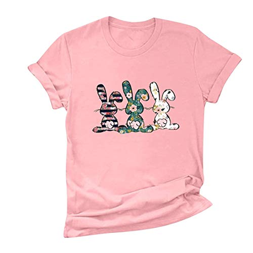 Women's Blouse, Women O-Neck Bunny Print T-Shirt Easter Short Sleeve Casual Loose Blouse Pink XL
