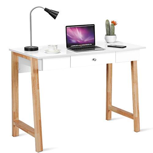 COSTWAY Escritorio con Cajón Mesa de Ordenador 106x50x75,5 centímetros con Patas de Goma Mesa de Maquillaje Mesa Multiuso para Oficina Hogar Estudio