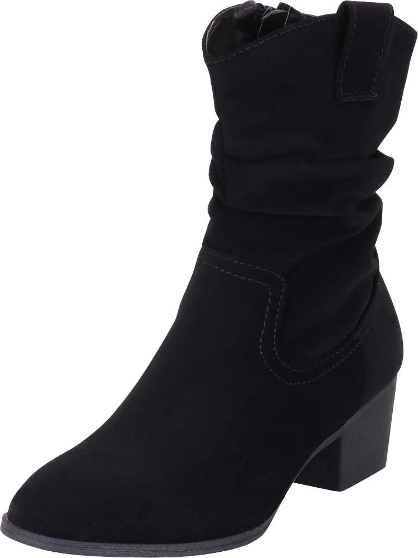 Cambridge Select Women's Western Slouch Chunky Block Heel Boot