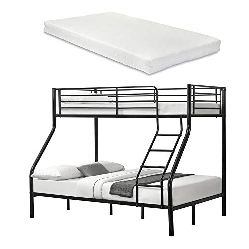 [neu.haus] Metall-Etagenbett - Schwarz - Mit Matratzen 200x140/90cm Kinderbett Stockbett Hochbett Metall Bettgestell